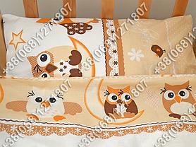 Детское постельное белье в кроватку, постельный комплект (сова бежевый), фото 3