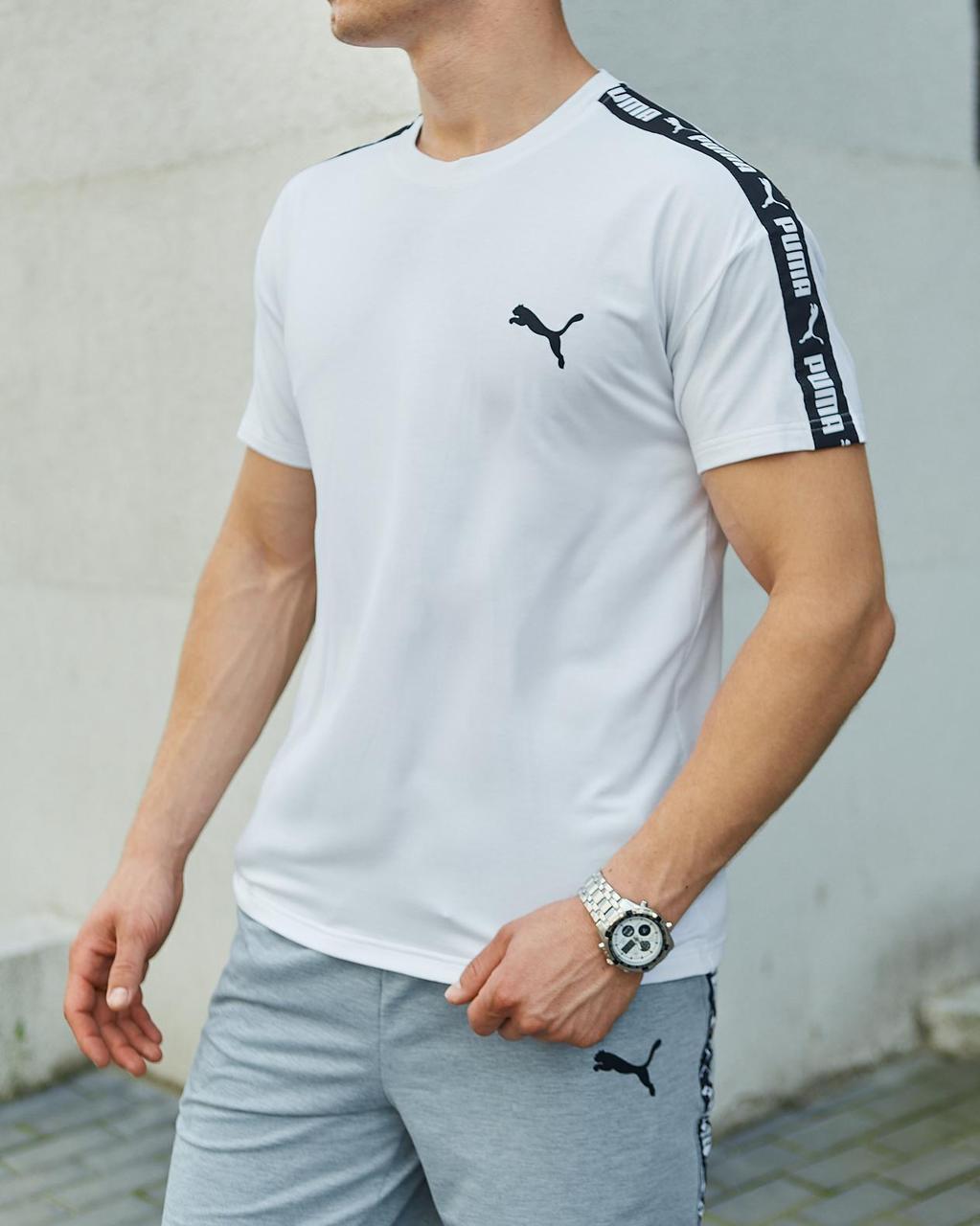 Летняя футболка + шорты Летний мужской комплект Puma Летний Спортивный костюм Пума цвет белый