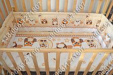 Детское постельное белье и защита (бортик) в детскую кроватку (сова бежевый), фото 2