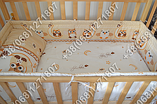 Детское постельное белье и защита (бортик) в детскую кроватку (сова бежевый), фото 3