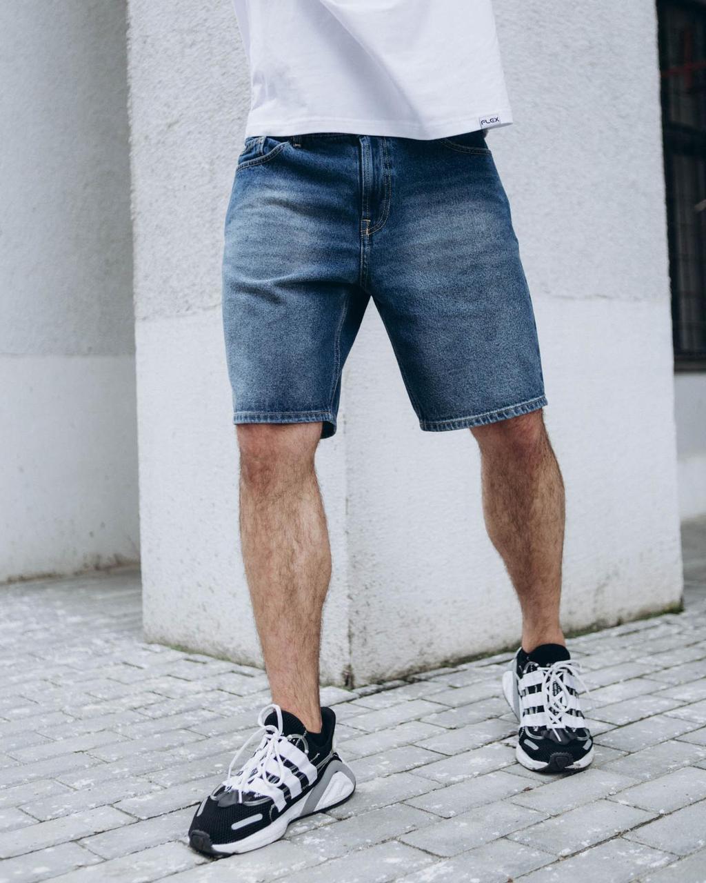 Джинсові шорти блакитні Денім чоловічі джинсові бриджі сині