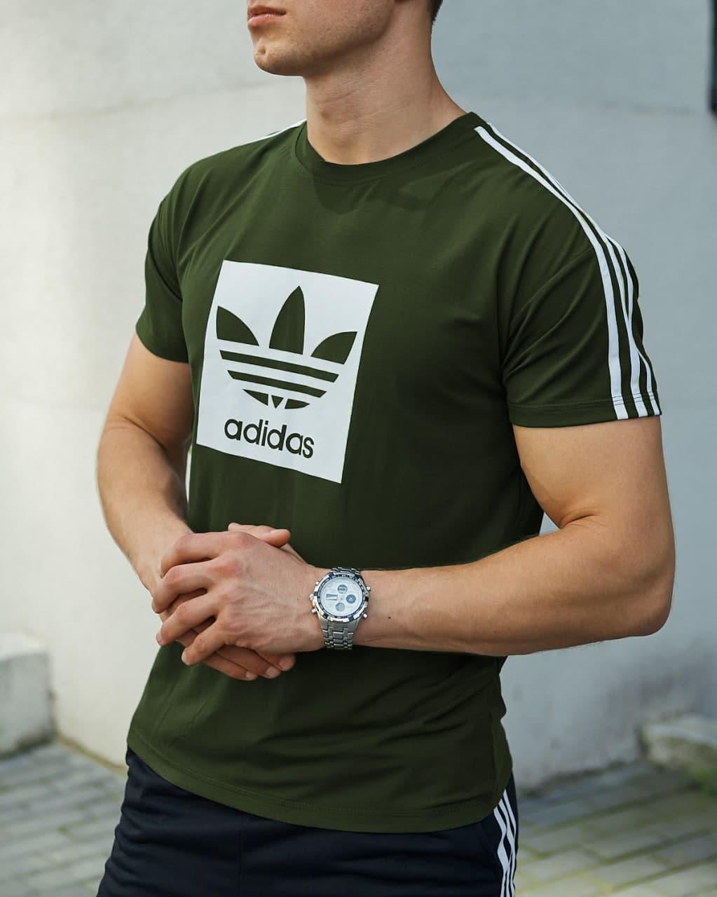 Мужская футболка цвета хаки Адидас Спринт