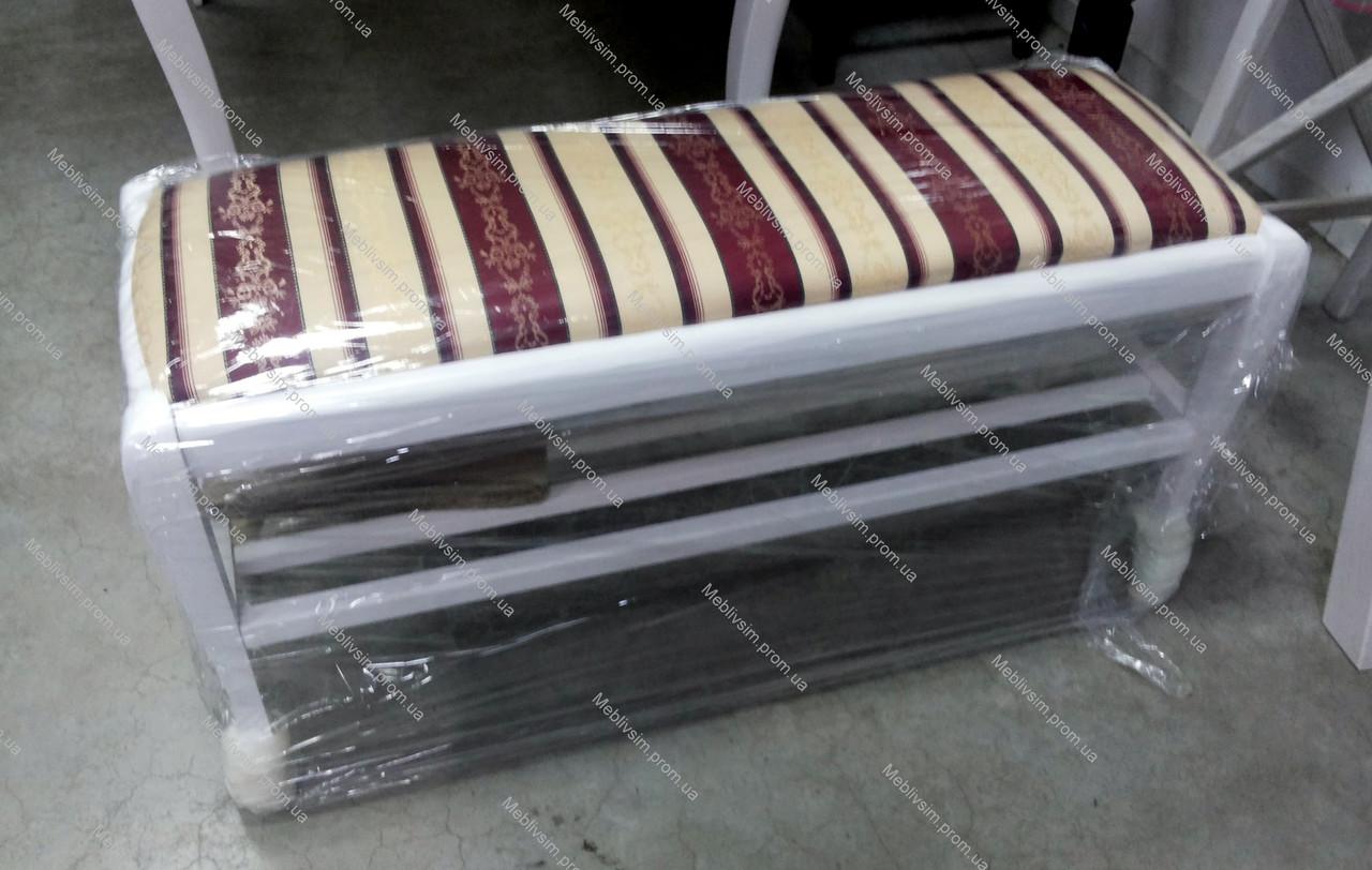 Банкетка деревянная с полкой в прихожую Сиеста Микс мебель, цвет  белый