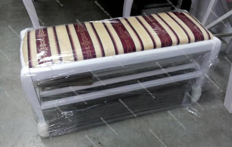 Банкетка деревянная с полкой в прихожую Сиеста Микс мебель, цвет  белый, фото 2