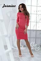 Женское коралловое платье,короткое платье женское,облегающие платье