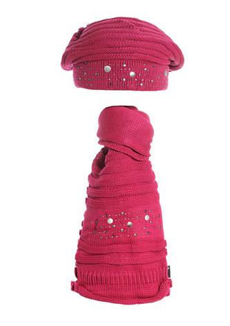 Красивый модный вязаный берет  и шарфик., фото 2