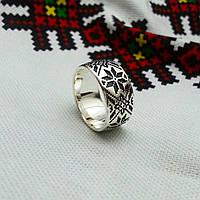 Обручальное кольцо вышиванка серебро 925 , фото 1