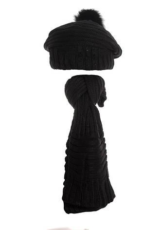 Женский теплый вязаный берет  и шарфик., фото 2