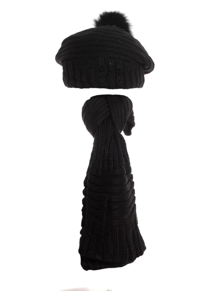 Женский теплый вязаный берет  и шарфик.