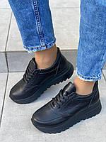Кроссовки женские кожа флотар черные на шнурках, фото 1