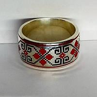 Кольцо обручальное вышиванка серебро 925