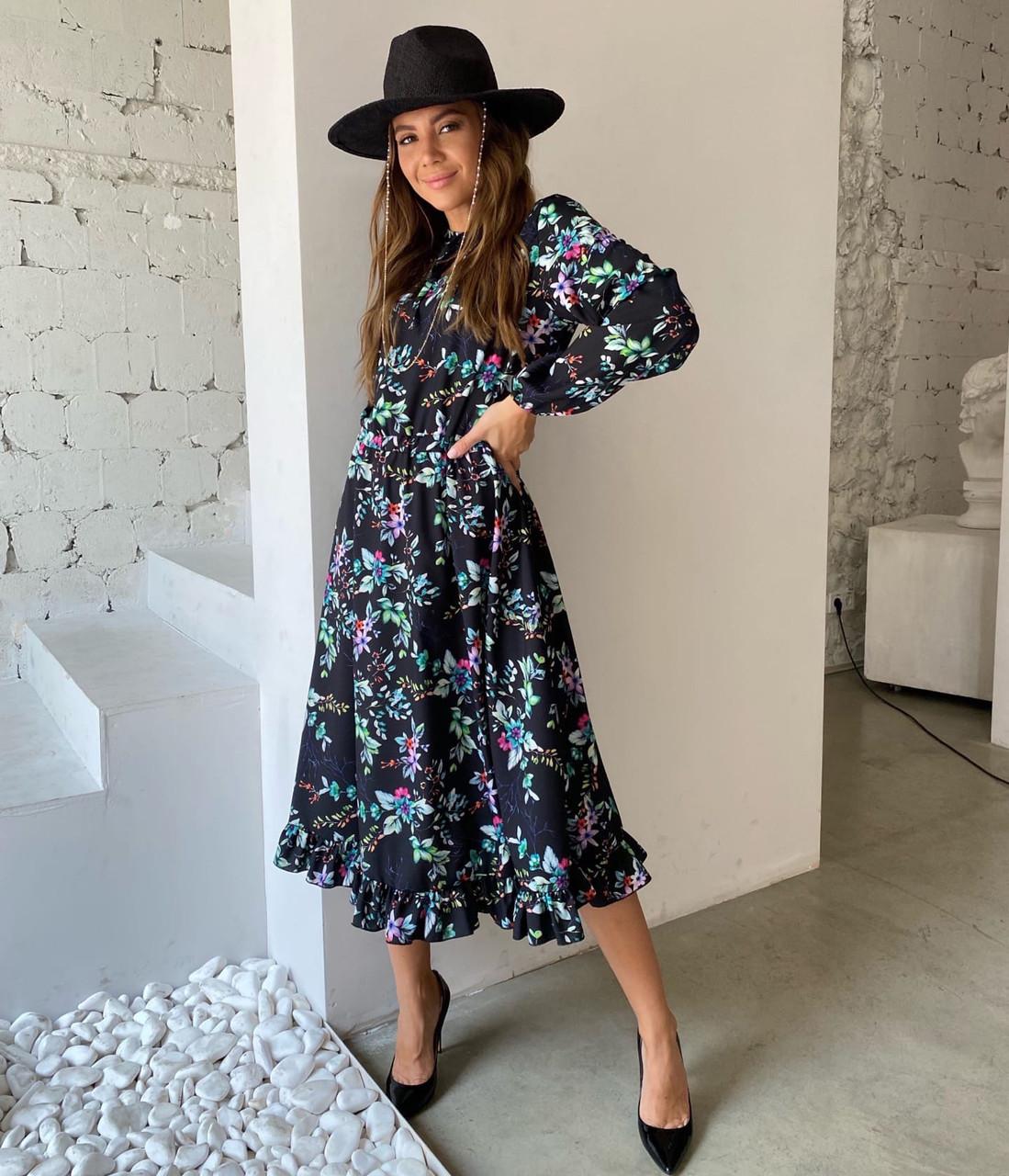 Романтичне плаття довжини міді в квіточку з довгими рукавами