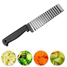Нож для волнистой нарезки овощей и сыра широкий из нержавейки
