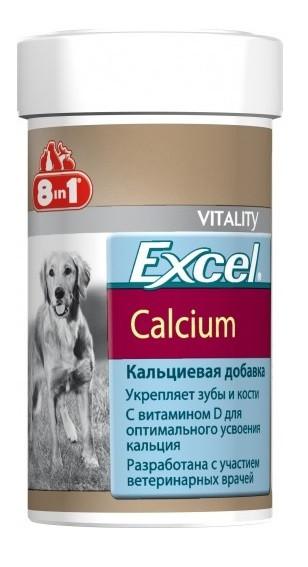 Кальций для щенков и собак, фосфор и витамин D, 8 in 1 Excel Calcium, 155 таблеток (100 мл)