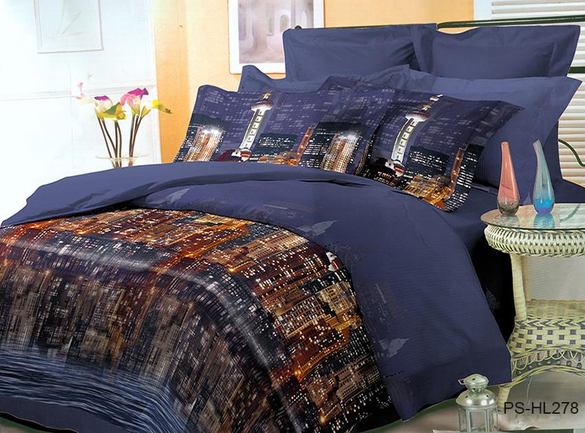 """Красивое постельное белье """"Мегаполис"""". Набор постельного белья из полисатина Евро размер"""