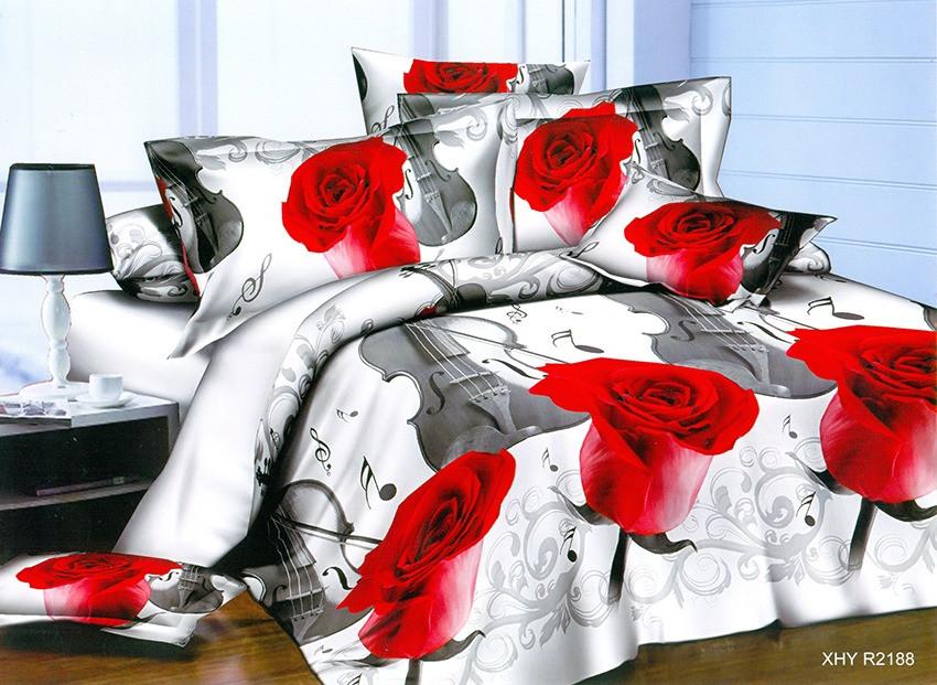 """Красивое постельное белье с розами """"Мелодия"""". Постельное 3Д, комплект постельного белья Евро размер"""