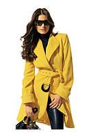 Пальто женское с отложным воротником и поясом P383