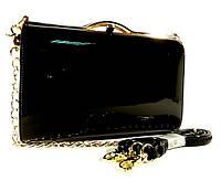 Клатч-бокс сумочка лаковая женская черная Shengkasilu 61873-1, фото 1
