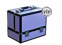 Кейс для косметики, легкий, в металле, серия бархат, фиолетовый