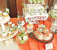 Свадебный Кенди бар Candy Bar в персиково-салатовых тоннах