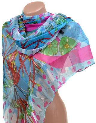 Цветной женский палантин 70 на 170 из легкого шелк-шифона 10223-F4