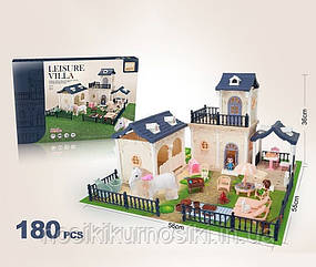 Кукольный домик 686-005 для минифигурок, 2 этажа, конюшня,180 элементов, 2 куклы, 3 питомца, флоксовая лошадь