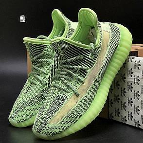 Рефлектив   Чоловічі кросівки в стилі Adidas Yeezy Boost 350 v2 Green Reflective, фото 2