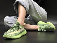 Рефлектив   Жіночі кросівки в стилі Adidas Yeezy Boost 350 v2 Green Reflective, фото 3