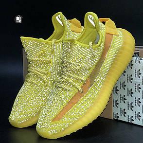 Рефлектив   Мужские кроссовки в стиле Adidas Yeezy Boost 350 v2 Yellow Reflective, фото 2