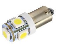 2х LED BA9S T4W лампа в автомобиль, 4+1 SMD