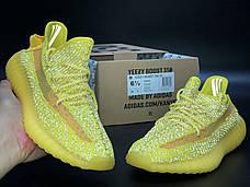Рефлектив | Женские кроссовки в стиле Adidas Yeezy Boost 350 v2 Yellow Reflective, фото 3