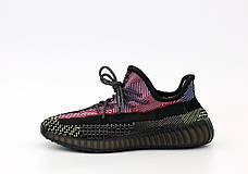 Рефлектив   Жіночі кросівки в стилі Adidas Yeezy Boost 350 v2 Red Black Reflective, фото 2