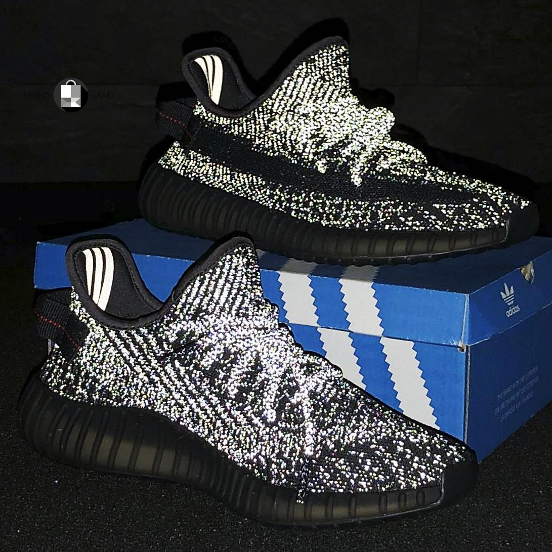 41-46 размер   Мужские рефлективные кроссовки в стиле Adidas Yeezy Boost 350 v2 Black Reflective
