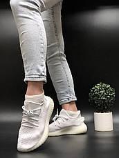 Жіночі кросівки в стилі Adidas Yeezy Boost 350 v2 Full White, фото 3