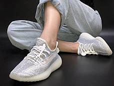 Рефлектив   Жіночі кросівки в стилі Adidas Yeezy Boost 350 v2 White Reflective, фото 3