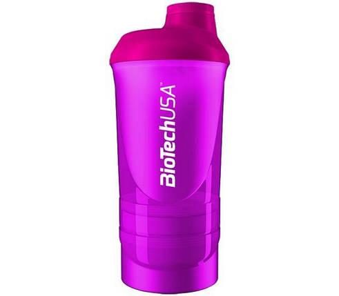 Шейкер BioTech Shaker Wave 3 in 1 500 мл розовый, фото 2