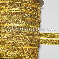 Лента бархатная с люрексом, 1 см, св.золото