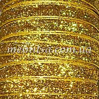 Лента бархатная с люрексом, 1 см, цвет золото