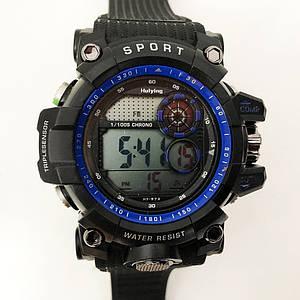 Годинник наручний, електронний, з підсвічуванням. Колір: синя рамка