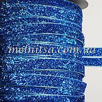 Лента бархатная с люрексом, 1см, т.голубая