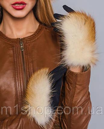 Женские перчатки с мехом лисы , фото 2