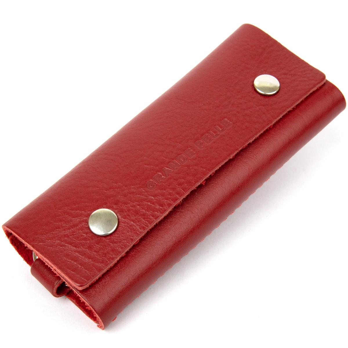 Яскрава шкіряна ключниця GRANDE PELLE 11353 Червоний