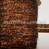 Лента бархатная с люрексом, 1 см, коричневая