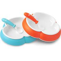Набор тарелок и ложек Babybjorn оранжевый/бирюзовый