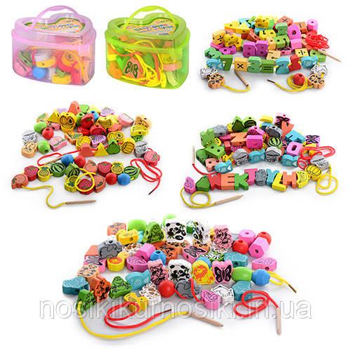 Деревянные игрушки Шнуровка MD 0344 фрукты овощи