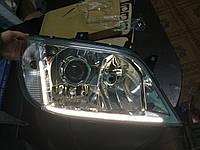 Mercedes Sprinter 1995-2006 гг. Передняя оптика с 1 линзой + LED (2 шт, Тайвань)