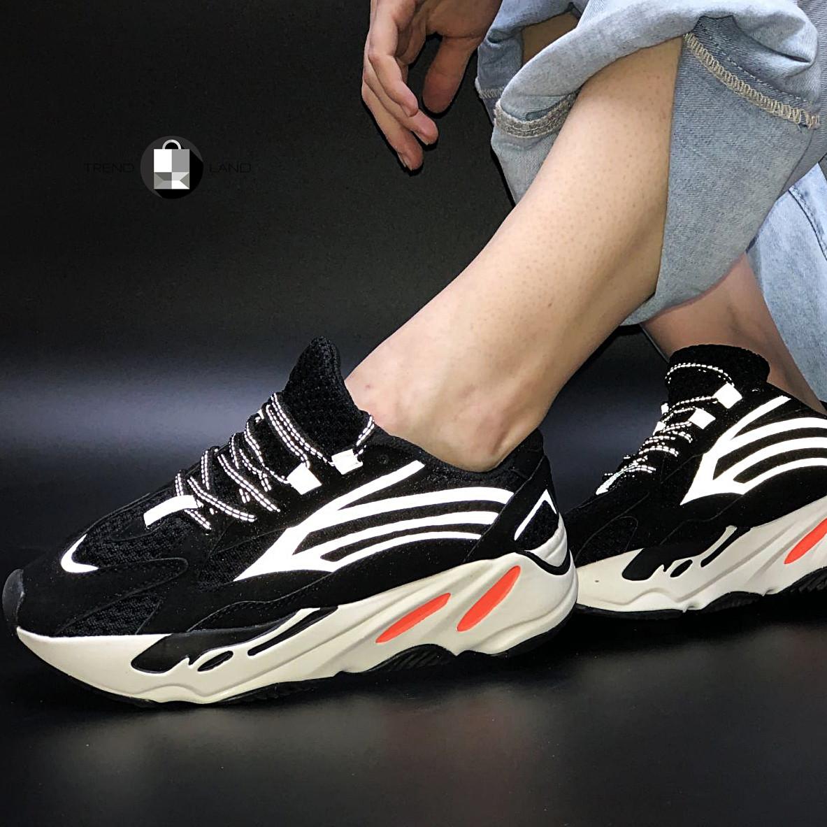 """Рефлектив   Женские кроссовки в стиле Adidas Yeezy Boost 700 """"Black Orange"""""""
