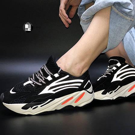 """Рефлектив   Женские кроссовки в стиле Adidas Yeezy Boost 700 """"Black Orange"""", фото 2"""