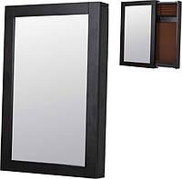 Зеркало-слайдер настенное коричневое с секцией для хранения украшений 42х8х65см