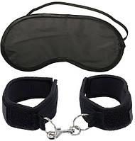 Наручники + маска на глаза First-Timer's Cuffs от Pipedream Products